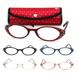 Womens Rhinestone Studded Oval Cat Eye Reading Glasses with Hard Case