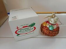 Christopher Radko Kitty In Basket Ornament Made in Poland Mint in Bronner's Box