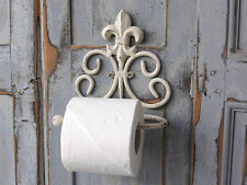Shabby Chic Style Fleur de Lis Scroll Toilet Roll Paper Holder Antique White