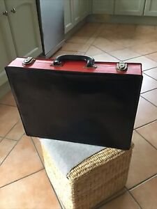 Black  And Red Faux Leather Briefcase Good Condition Unusual Design