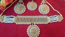 Gargantilla paquistaní de Bollywood Rani Haar nupcial Joyas Collar Aretes Set Reino Unido