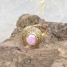 Pale amethyst cabochon celtic rope adjustable ring. Irish jewelry. Antique gold