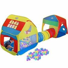 Playhouse Tents Pop-up Play Tent Tunnel Kids 3-in-1 Portable Big Playhut Tent