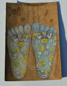 OLD RAJASTHAN MINIATURE PAINTED INDIAN POSTCARD OF REFLEXOLOGY   FEET NO  02