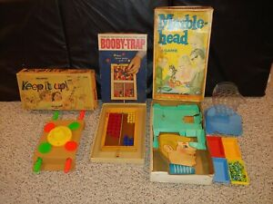 3 Vintage 60s/70s Action Games Toys,Marblehead Marble Head,Keep It Up,Booby Trap