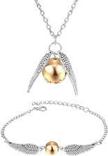 Harry Potter Golden Snitch Quidditch Silver Necklace & Bracelet Cheap Idea Gift