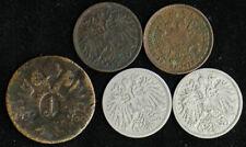 Lot of 5 Austria 1, 2, 10 Heller, 1 Kreuzer 1800-1896