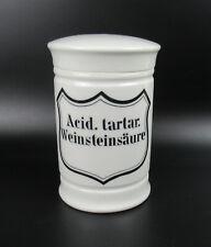Alte Porzellan Apothekerdose Apothekergefäß Weinsteinsäure Pharmacy Jar