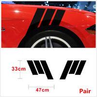2Pcs Car Side Body Vinyl Decal Sticker Sports Racing Race Car Decals Stick Black