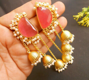 Traditional Chalcedony PINK Stone LONG Chain Jhumki Jhumka Earring Party Festive