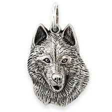 More details for solid sterling silver siberian husky dog pendant (handmade uk, also in gold)