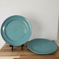 """Set (2) Pottery Barn CAMBRIA PATTERN - TURQUOISE Dinner Plates 11.5"""" Portugal"""