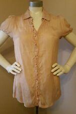 Women's MNG by Mango Dusty Pale Orange Short Sleeve Blouse - Size 8