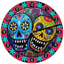 """8"""" WALL CLOCK Sugar Skull 7 Dia de los Muertos Day of the Dead Halloween Tattoo"""