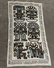 Vtg Mexican Mayan Tapestry Textile Wall Art Embroidery Incan Andean Culture Read