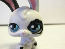 2006 Littlest Pet Shop Black White Rabbit Bunny with Magic Motion Blue Eyes LPS