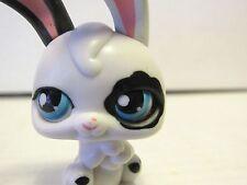2006 Littlest Pet Shop Black White Rabbit Bunny with Magic Motion Blue Eyes LPS