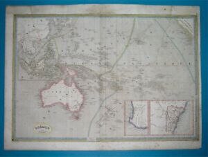 1840 XL RARE ORIGINAL MAP AUSTRALIA OCEANIA PAPUA NEW ZEALAND HAWAII GUAM SYDNEY