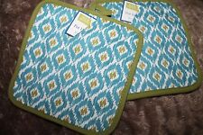 SET OF 2 KITCHEN POTHOLDERS  Modern Blue and Green Quilted 8 X 8 New
