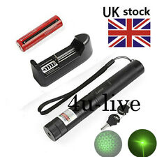 Green  Laser Pointer Pen Adjustable Focus 532nm +18650 Battery UK Charger