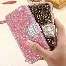 3D Bling Strass Schmuck Glitter Handy Tasche Flip Case Cover Schutz Hülle