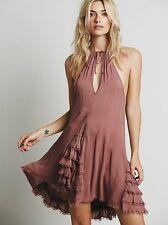 Free People Intimately Pink Ruffle Feather Boho Mini Slip Dress S Rare