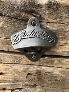 BUDWEISER BEER  CAST IRON BAR WALL MOUNTED BOTTLE OPENER