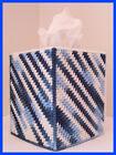 BLUE WHITE NURSERY HANDMADE PLASTIC CANVAS TISSUE BOX COVER TOPPER