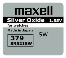 5 NEW SR521SW 379 Silver Oxide 1.55V Watch Battery Made in Japan FREE SHIPPING