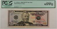 2004 $50 FRN *EG-Star* fw Note, PCGS Gem 65 PPQ, Fr. 2128-G*, Federal Reserve