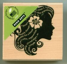 HERO ARTS  rubber stamp FLOWER GIRL SILHOUETTE wood mounted, Children, E5559