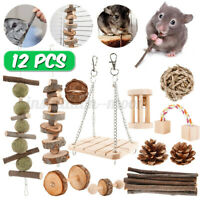 12 PCS Natural Wooden Chew Pets Toy For Pine Hamster Guinea Pig Rabbits Birds ✌