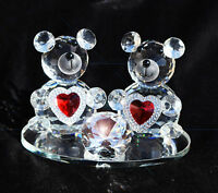 CRYSTAL PAIR TEDDY BEARS WITH RED HEART I LOVE YOU VALENTINE GIFT WITH GIFT BOX