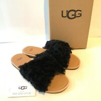 Women's UGG Black Slides Uk Size 5 6 6.5 Sandals Suede Boxed Slippers