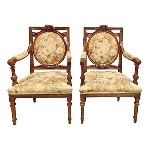Pair Of French Louis XVI Solid Mahogany Accent Chairs or Bergère Chairs 1920s.