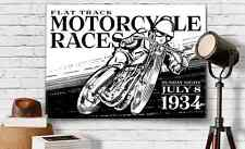 Vintage Motorcycle Graphic Art Print Canvas 18X24 FlatTrack Racing Car Guy Gift