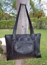 Hartmann BLACK LEATHER ZIPPER TOP SOFT BRIEFCASE / LARGE PURSE Business Tote Bag