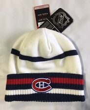 Montreal Canadiens Knit Beanie Toque Winter Hat Skull Cap - NHL New White Cuffed