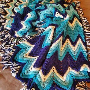Vintage 1950s Mid Century Modern Handmade Granny Afghan Blanket Throw 47x70