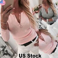 Women Long Sleeve Zip V Neck Blouse Tops Ladies Casual Soild Slim Fit T Shirt US