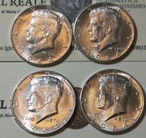 STATI  UNITI  LOTTO DI 4 MONETE IN. ARGENTO DA MEZZO DOLLARO KENNEDY 1964