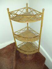Vintage Rattan Bamboo Boho Corner Unit/shelves/ Plant Stand
