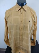 Roca Wear Men's Orange  Plaid&Check Long Sleeve Cotton Shirt Size XL