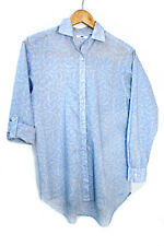 camisa Uniqlo azul claro con estampado flower  printed light blue shirt size M