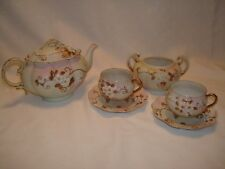 ANTIQUE NIPPON EXCEPTIONALLY FINE PORCELAIN PINK MORIAGE FLORAL TEA SET
