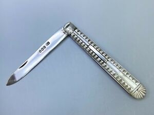 Sterling Sheffield Folding Fruit Knife Mother of Pearl Perlmutt 1898 H. Atkin