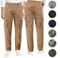 Men's Cotton Tactical Work Trousers Multi Pocket Military Army Cargo Pants