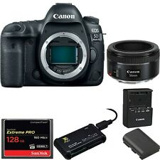 Canon EOS 5D Mark IV DSLR Camera (Body Only) w/ Canon 50mm 1.8 STM Bundle