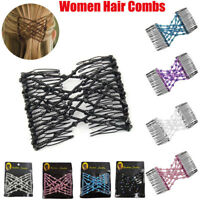 Magic Hair Comb Slide Elastic Double Beads Easy Stretchy Hair Clips Pins Combs