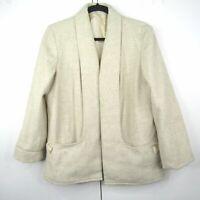 Vintage 90s Minimal Tan Open Front Blazer Cardigan Jacket Women's 12